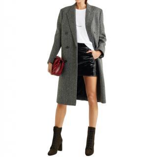 Saint Laurent Herringbone wool-blend coat