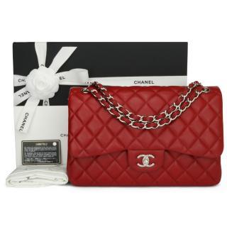 Chanel Red Caviar Jumbo Double Flap Bag