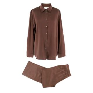 Asceno London Silk Pyjama Trousers & Shirt Set