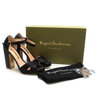 Rupert Sanderson Savanna Satin Sandals in black