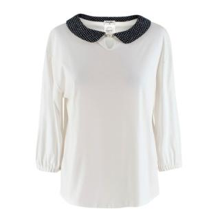 Chanel White Top with Tweed Collar
