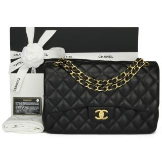 CHANEL Black Lambskin Classic Jumbo Double Flap Bag