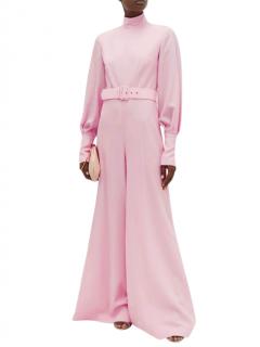 Emilia Wickstead Elvis high-neck belted wool-crepe jumpsuit