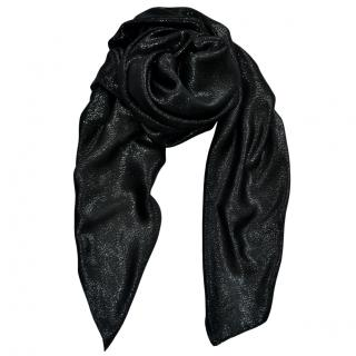 Saint Laurent black metallic cashmere blend scarf