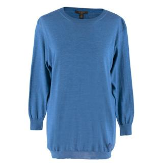 Louis Vuitton Blue Knit Silk Blend Sweatshirt