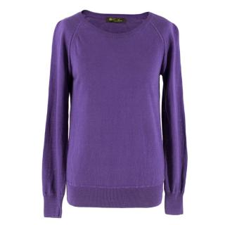 Loro Piana Purple Silk Blend Knitted Sweatshirt 38