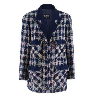 Chanel Boutique Vintage Check Tweed Coat