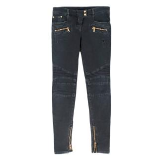Balmain Distressed Zip Pocket Biker Jeans