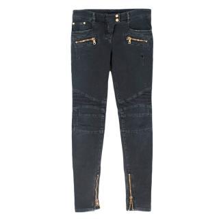 Balmain Distressed Zip Pocket Biker Jeans