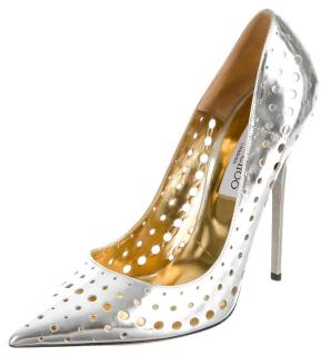Jimmy Choo Silver Metallic Leather Mime Perforated Pumps