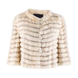 Fendi Bone White Short Mink Fur Jacket