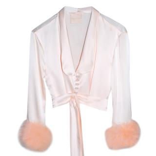 Maguy de Chadirac silk & marabou feather cropped pyjama jacket