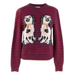 Gucci Dog Patch Striped Wool Jumper
