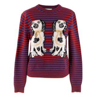 Gucci Dog Patch Striped Wool Jumper