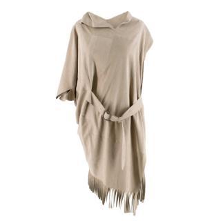 Comme Des Garcons Faux Suede Asymmetric Fringed Dress