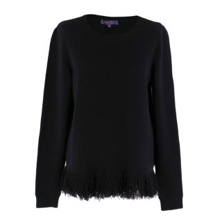 Ralph Lauren Black Cashmere Fringed Jumper