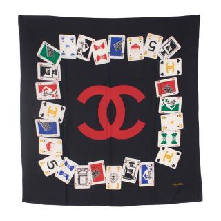 Chanel Black Silk Playing Card Scarf