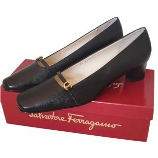 Salvatore Ferragamo black leather pumps