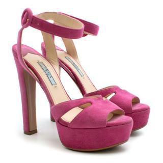 Prada Pink Platform Suede Sandals