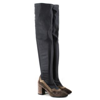 MR Velvet Faux Leather OTK Boots