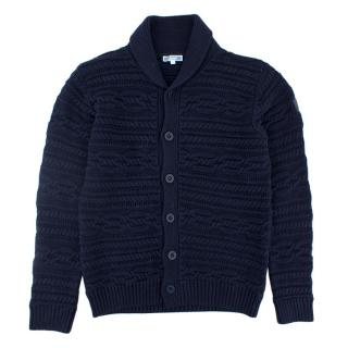 Jacardi Navy Blue Cotton Cardigan 12+