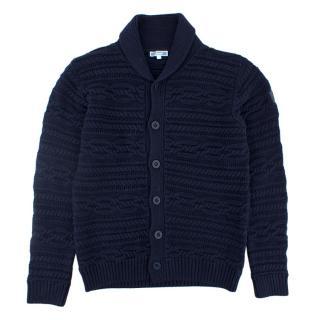 Jacardi Navy Blue Cotton Cardigan 12+