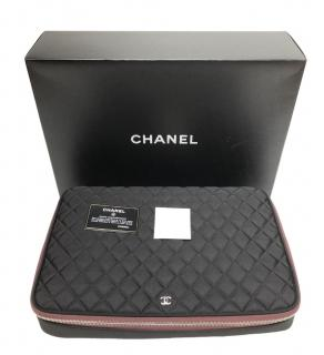 Chanel black quilted laptop case