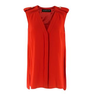 Alexandre Vauthier Silk Sleeveless Top With Buttoned Shoulders