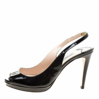 Prada black patent slingbacks