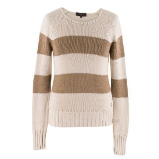 Loro Piana Knitted Striped Beige Jumper