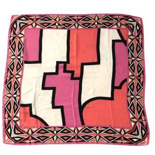 Emilio Pucci pink graphic print silk scarf