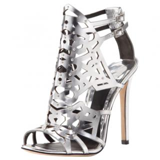 Brian Atwood metallic silver laser cut cage sandals