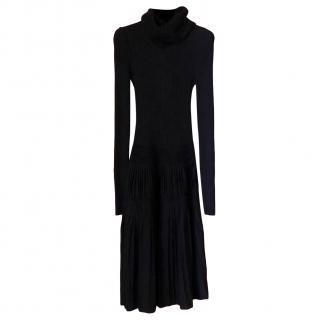 Chanel black turtleneck midi dress