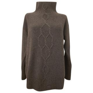 Max Mara Grey Wool & Cashmere High Neck Sweater