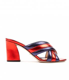 Gucci Red and Blue Webby Candy Stripe Crossover Sandals