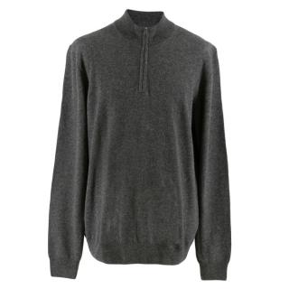 Hackett Grey Merino Wool Blend Half-Zip Jumper