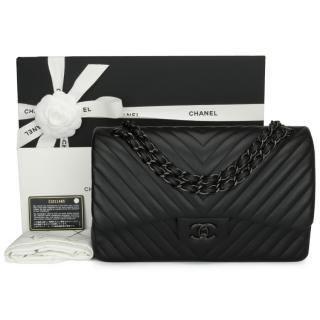 Chanel So Black Chevron Jumbo Double Flap Bag
