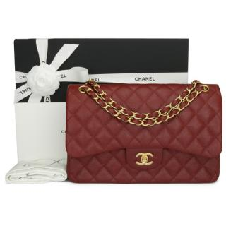 Chanel Burgundy classic caviar double flap jumbo in iridescent leather