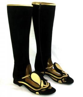 Prada black suede sandal boots