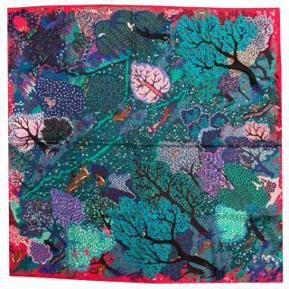 Hermes Pink & Teal Fantasy Silk Scarf 90