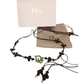 Dior Jade Green Embroidered Love Knot Necklace