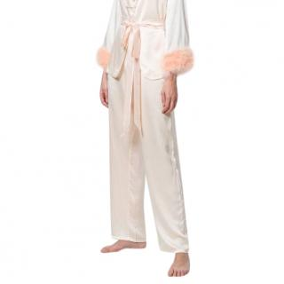 Maguy de Chadirac silk marabou feather pyjama trousers