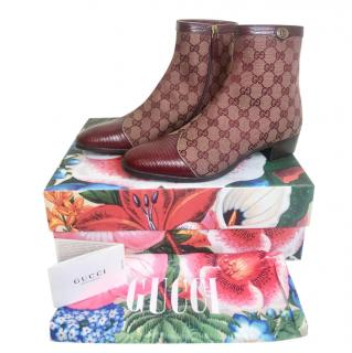 Gucci Burgundy Monogram Boots with Lizard Trim