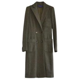 Ralph Lauren Collection olive wool and cashmere double breasted coat