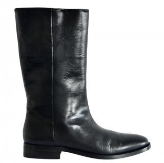 Saint Laurent flat black leather boots