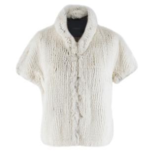 Fendi Short Sleeve Bone White Rabbit Fur Jacket