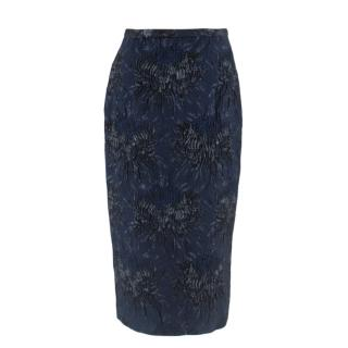 Rocha Blue Floral Pattern Pencil Skirt