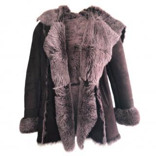 James Lakeland Burgundy Shearling Coat