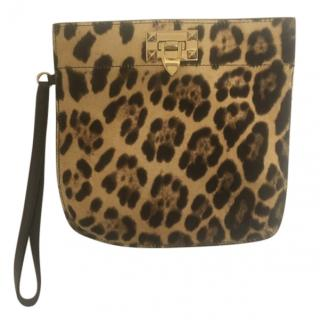 Valentino Pony Hair Leopard Print Clutch