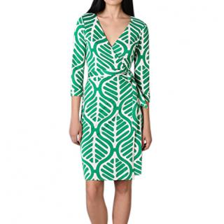 Diane Von Furstenberg Green Printed Wrap Dress